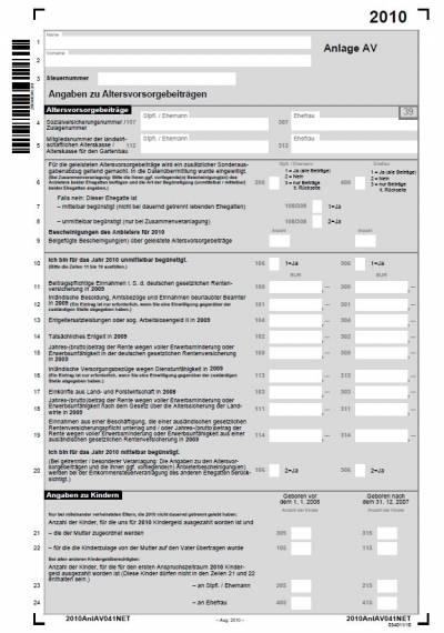 riester rente steuererklärung 2019 anlage av